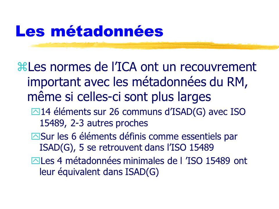 Les métadonnées Les normes de l'ICA ont un recouvrement important avec les métadonnées du RM, même si celles-ci sont plus larges.