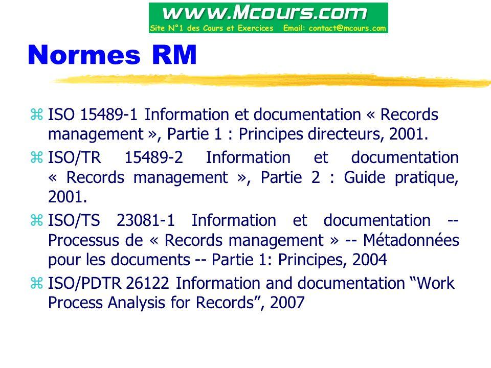 Normes RM ISO 15489-1 Information et documentation « Records management », Partie 1 : Principes directeurs, 2001.