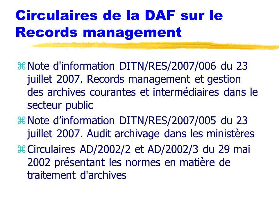 Circulaires de la DAF sur le Records management