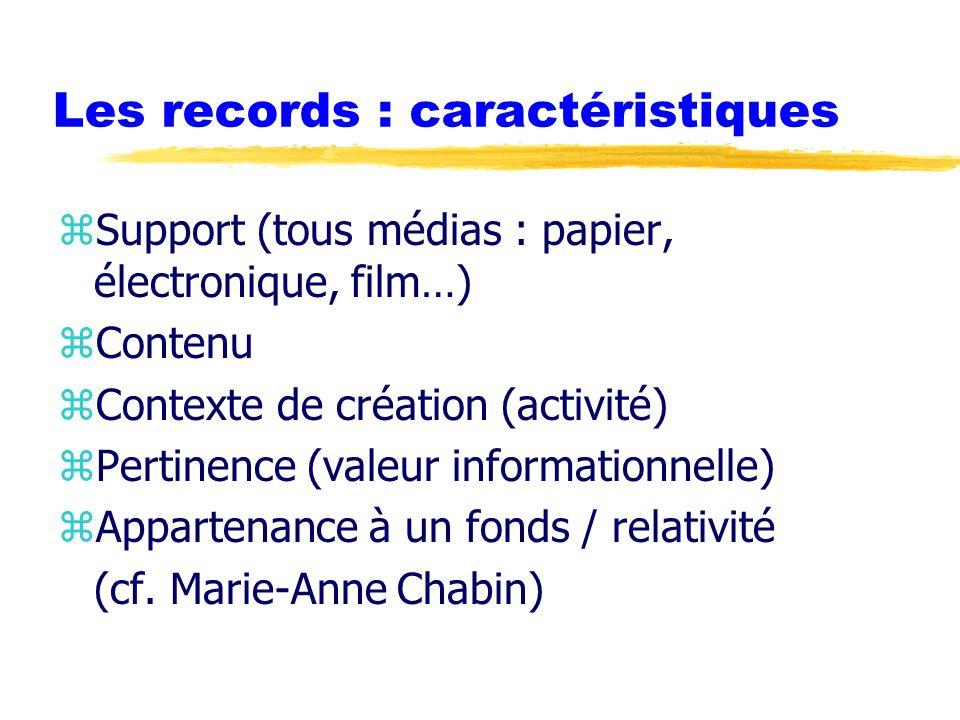 Les records : caractéristiques