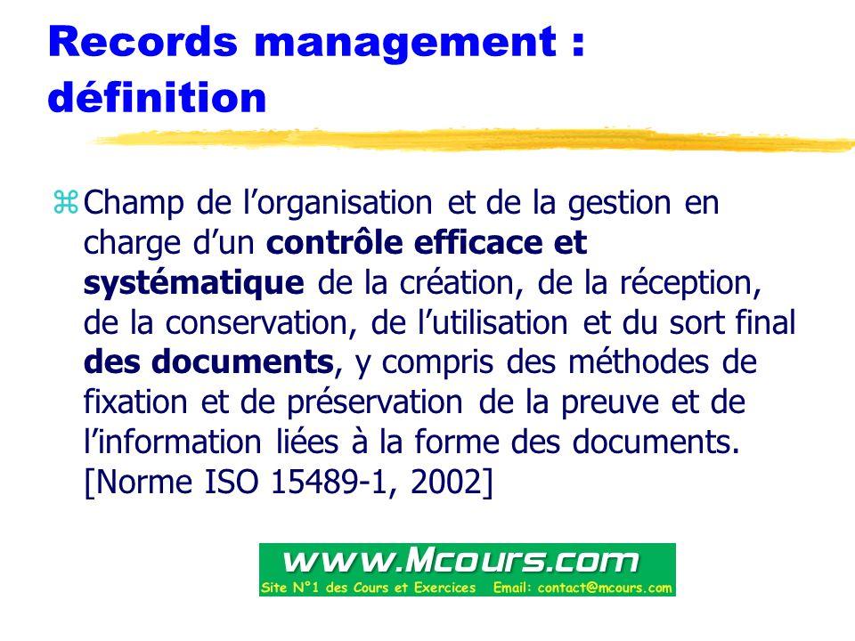 Records management : définition