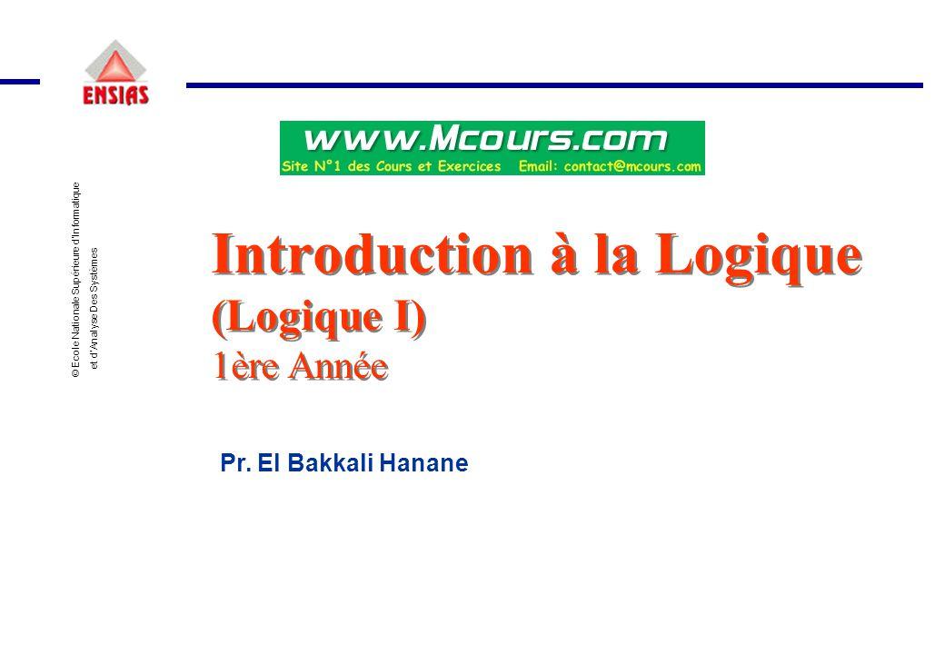 Introduction à la Logique (Logique I) 1ère Année