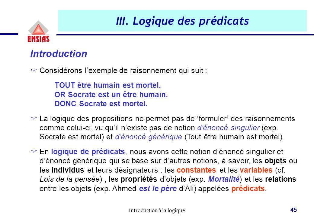 Introduction la logique logique i 1 re ann e ppt for Logique de base