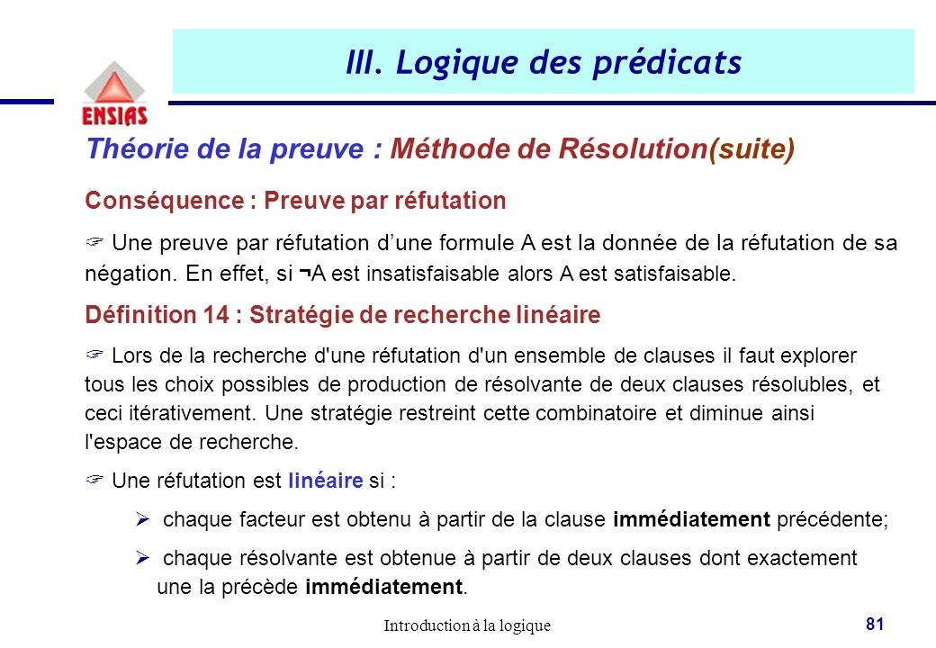 III. Logique des prédicats