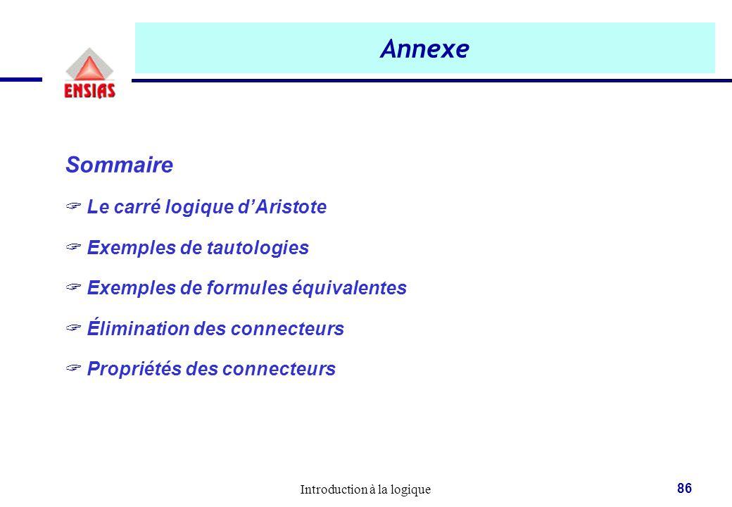 Annexe Sommaire Le carré logique d'Aristote Exemples de tautologies