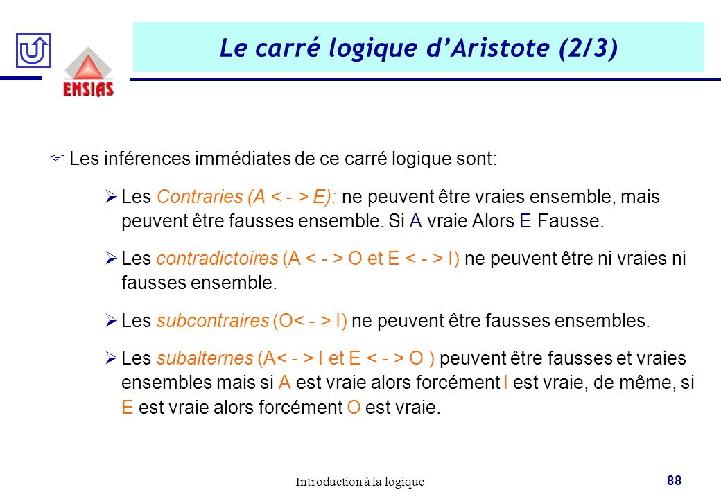 Le carré logique d'Aristote (2/3)
