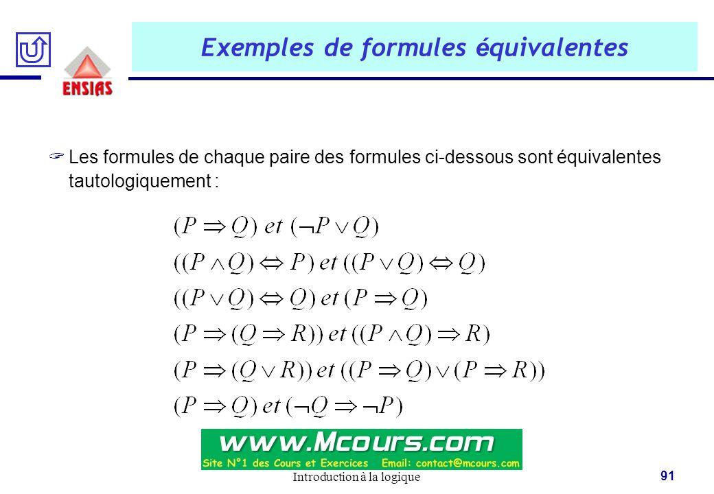 Exemples de formules équivalentes