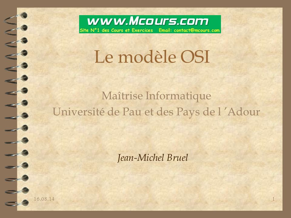Le modèle OSI Maîtrise Informatique