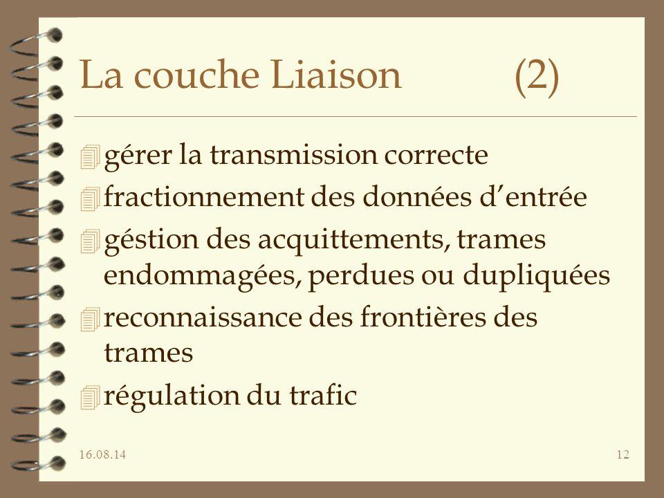 La couche Liaison (2) gérer la transmission correcte