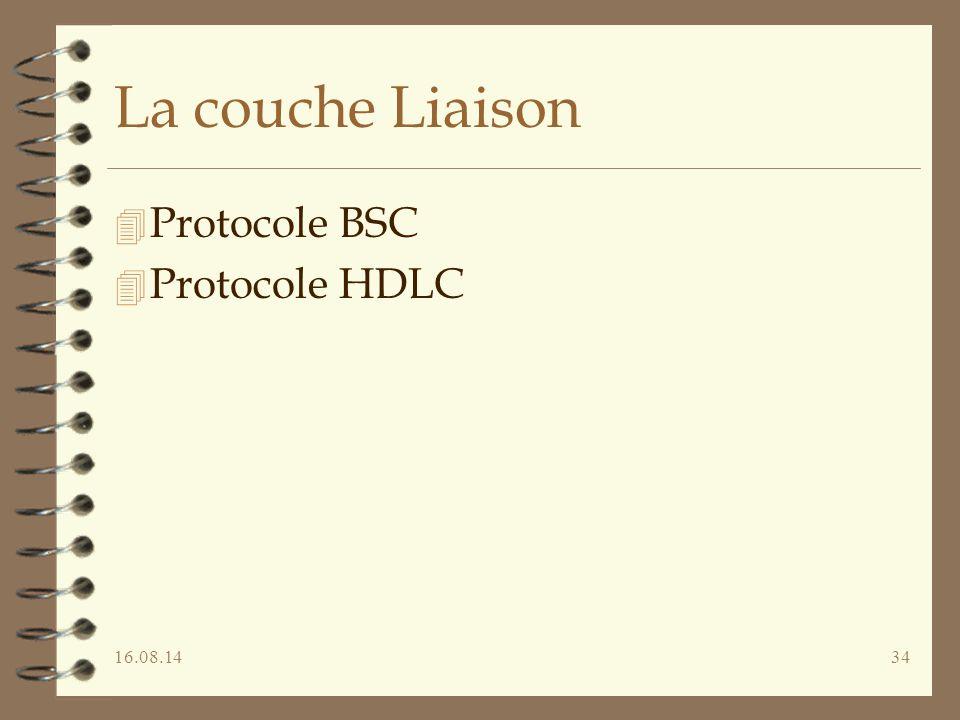 La couche Liaison Protocole BSC Protocole HDLC 05.04.17