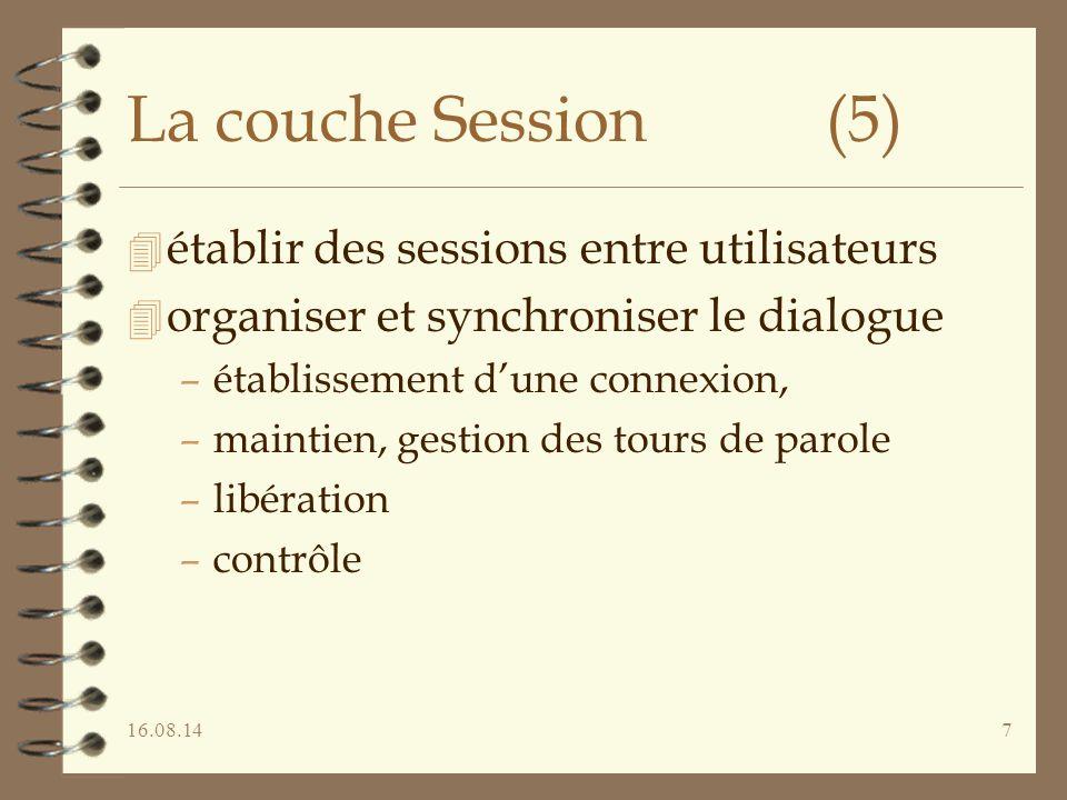 La couche Session (5) établir des sessions entre utilisateurs