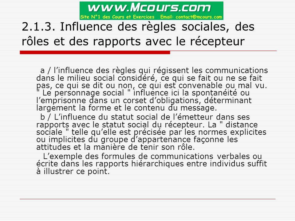 2.1.3. Influence des règles sociales, des rôles et des rapports avec le récepteur
