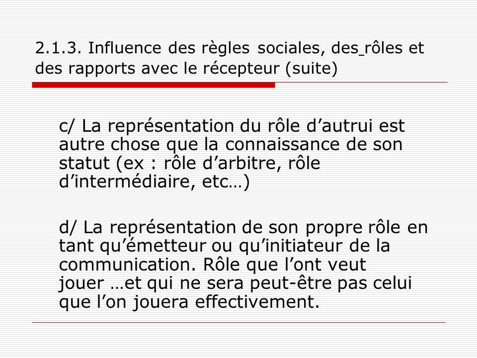 2.1.3. Influence des règles sociales, des rôles et des rapports avec le récepteur (suite)