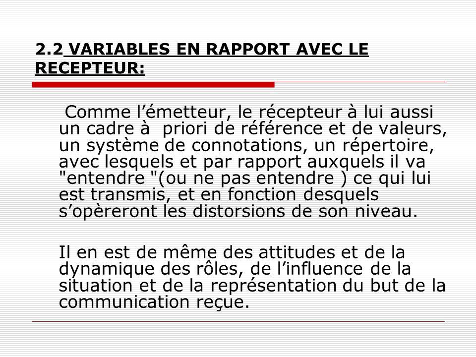 2.2 VARIABLES EN RAPPORT AVEC LE RECEPTEUR: