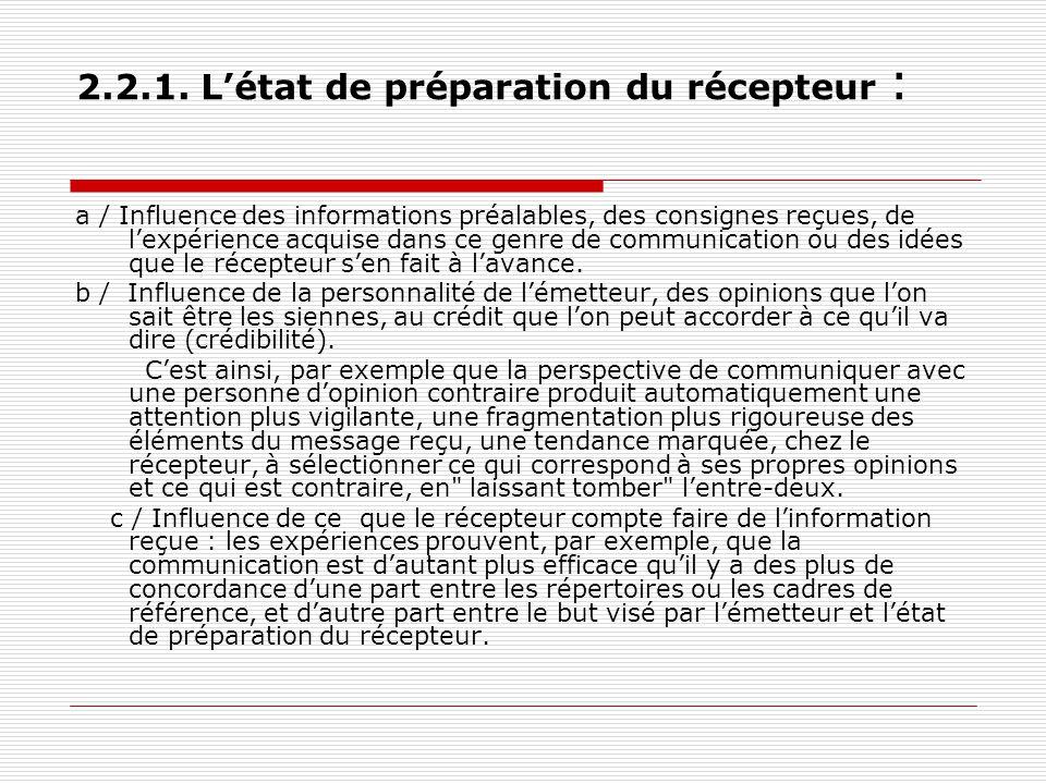 2.2.1. L'état de préparation du récepteur :