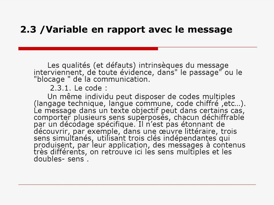 2.3 /Variable en rapport avec le message