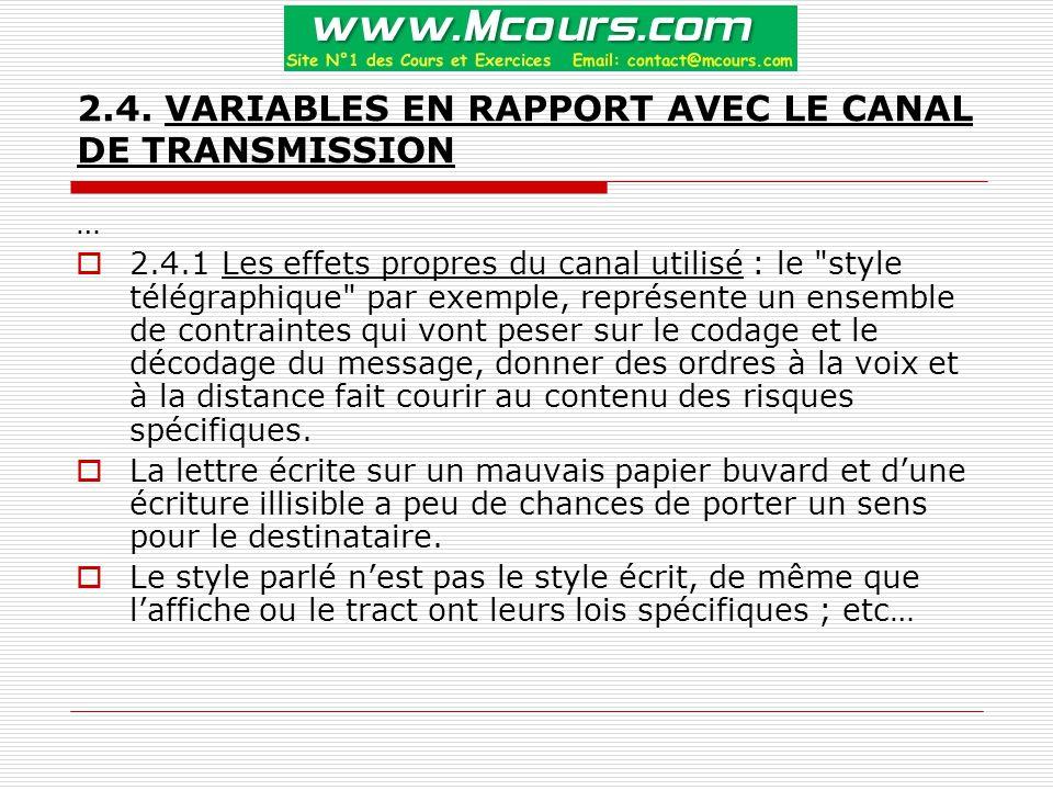 2.4. VARIABLES EN RAPPORT AVEC LE CANAL DE TRANSMISSION