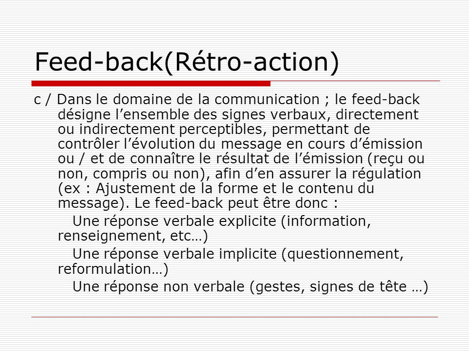 Feed-back(Rétro-action)