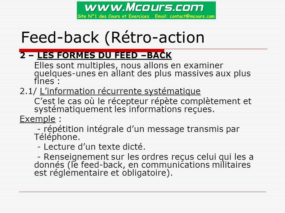 Feed-back (Rétro-action