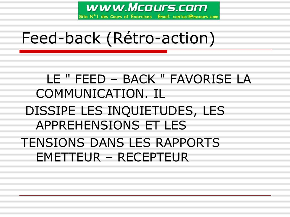 Feed-back (Rétro-action)