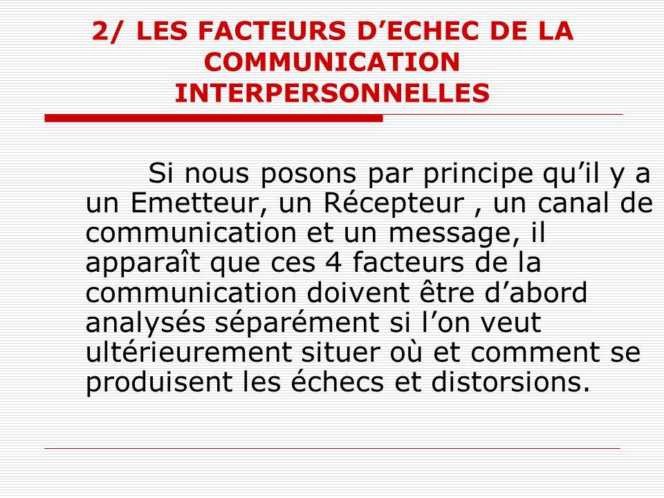 2/ LES FACTEURS D'ECHEC DE LA COMMUNICATION INTERPERSONNELLES
