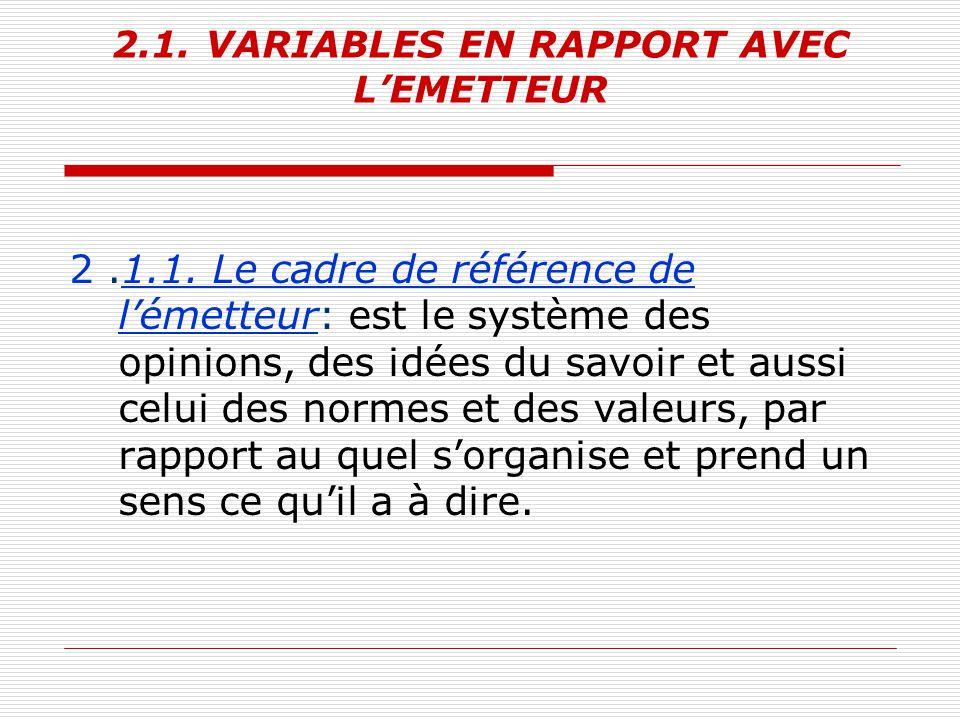 2.1. VARIABLES EN RAPPORT AVEC L'EMETTEUR