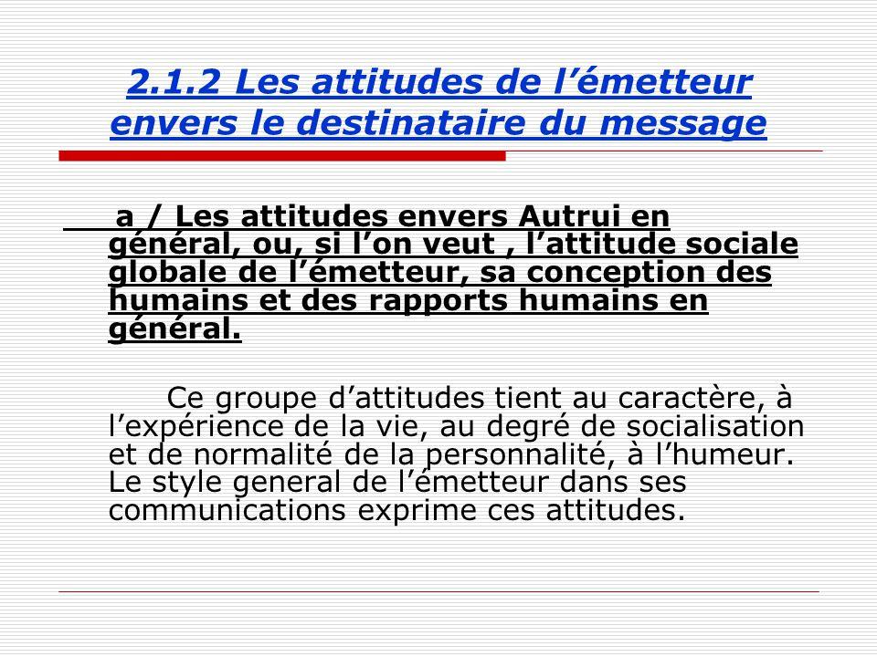 2.1.2 Les attitudes de l'émetteur envers le destinataire du message