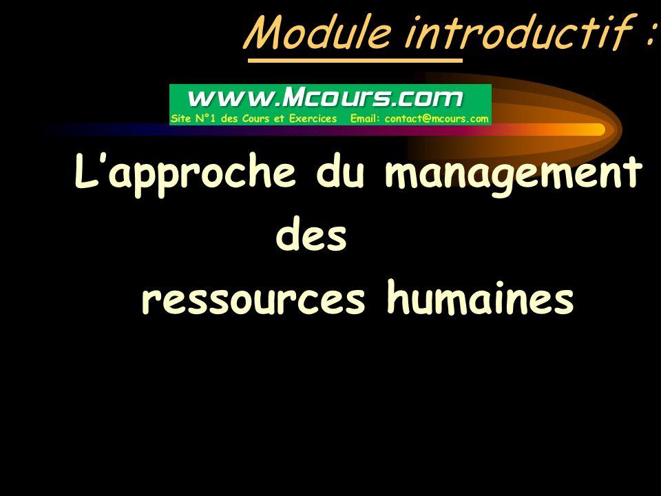 Module introductif : L'approche du management des ressources humaines