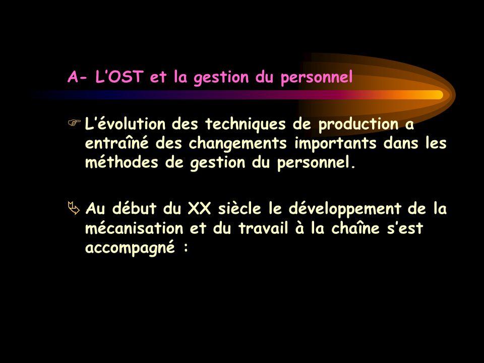 A- L'OST et la gestion du personnel