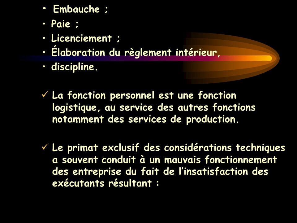 • Embauche ; • Paie ; • Licenciement ;