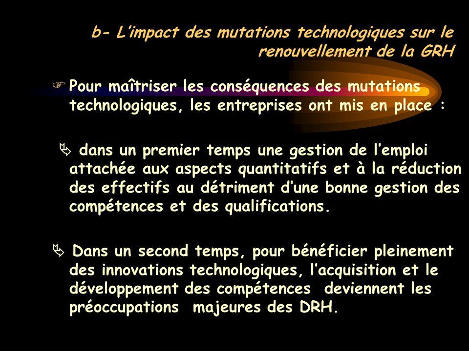 b- L'impact des mutations technologiques sur le renouvellement de la GRH