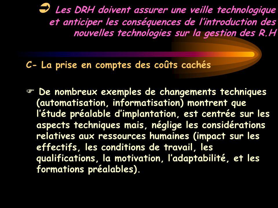  Les DRH doivent assurer une veille technologique et anticiper les conséquences de l'introduction des nouvelles technologies sur la gestion des R.H