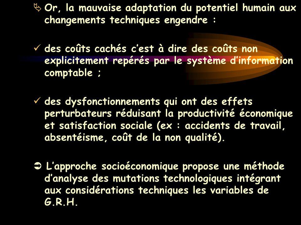 Or, la mauvaise adaptation du potentiel humain aux changements techniques engendre :
