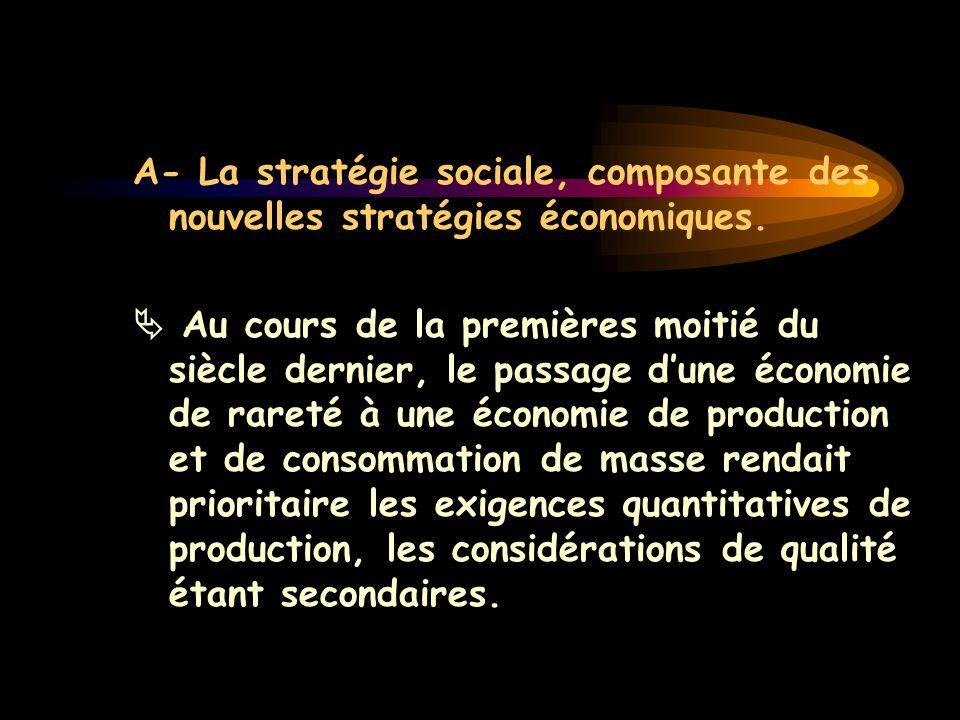 A- La stratégie sociale, composante des nouvelles stratégies économiques.