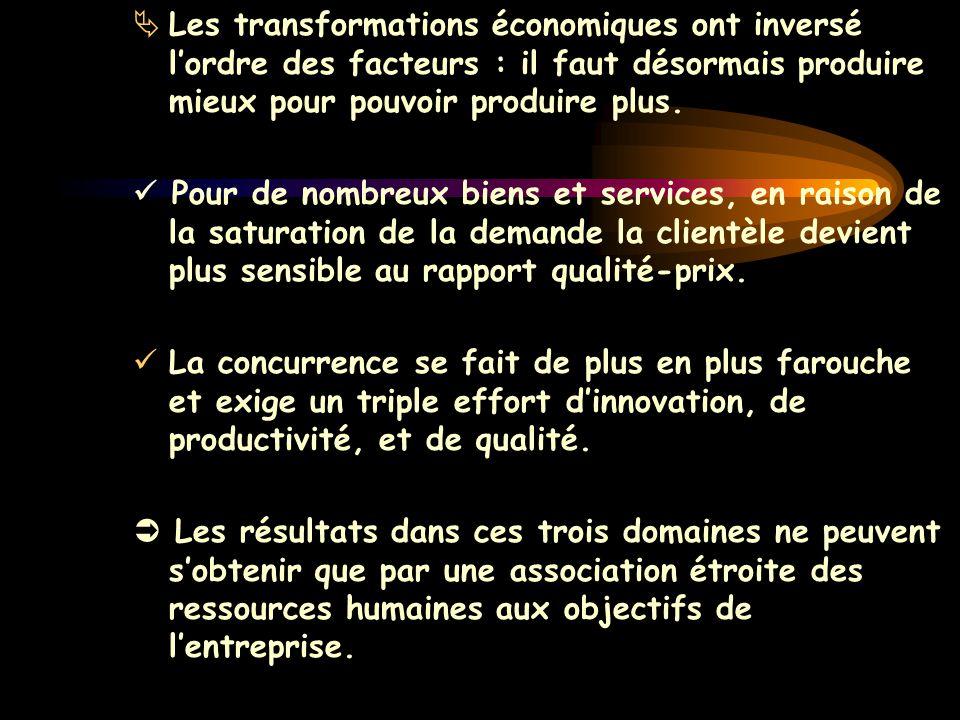 Les transformations économiques ont inversé l'ordre des facteurs : il faut désormais produire mieux pour pouvoir produire plus.
