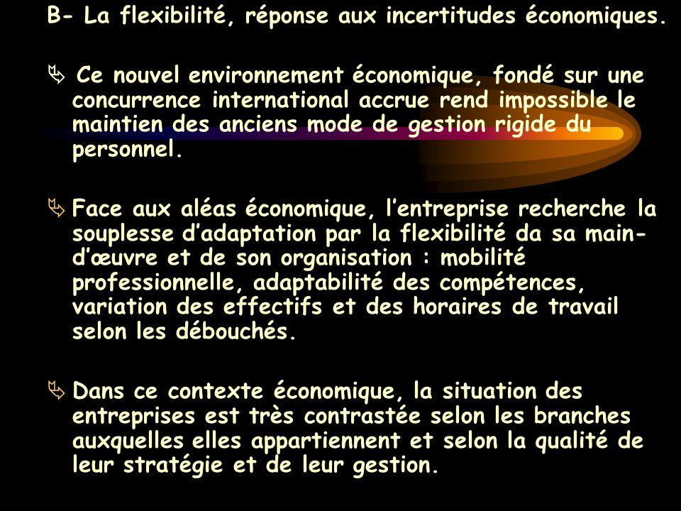 B- La flexibilité, réponse aux incertitudes économiques.