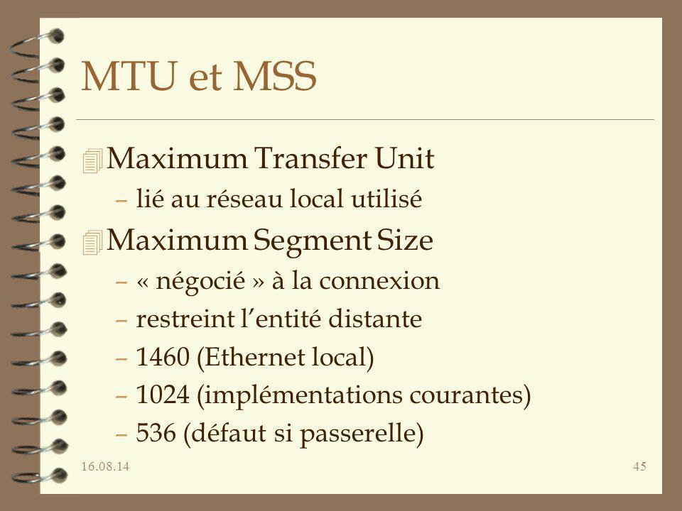 MTU et MSS Maximum Transfer Unit Maximum Segment Size
