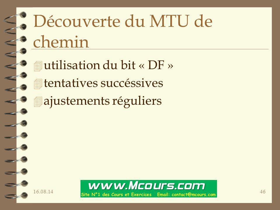 Découverte du MTU de chemin