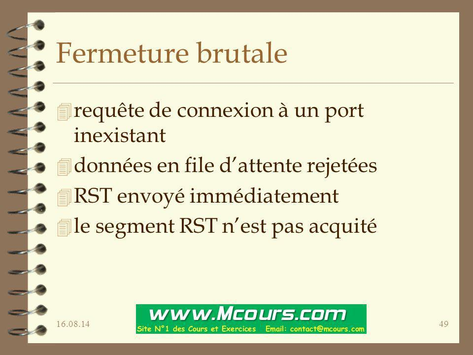 Fermeture brutale requête de connexion à un port inexistant