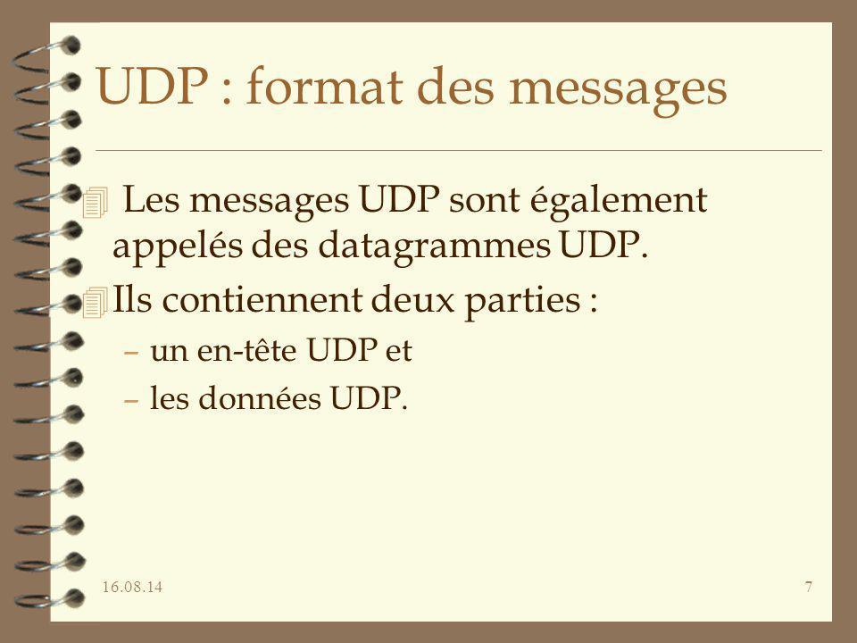 UDP : format des messages