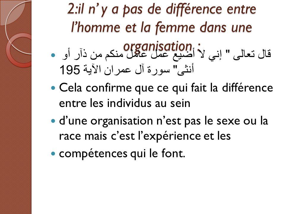 2:il n' y a pas de différence entre l'homme et la femme dans une organisation :