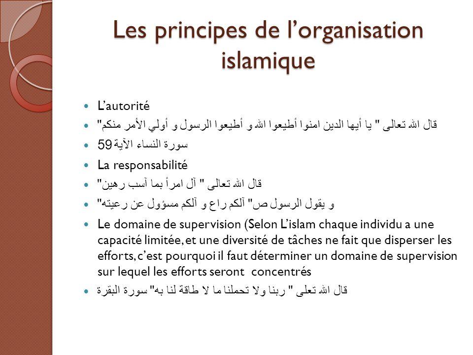 Les principes de l'organisation islamique