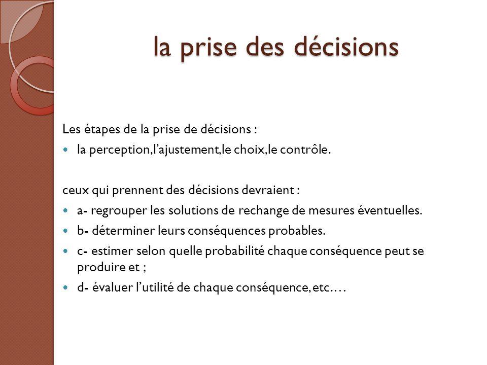 la prise des décisions Les étapes de la prise de décisions :