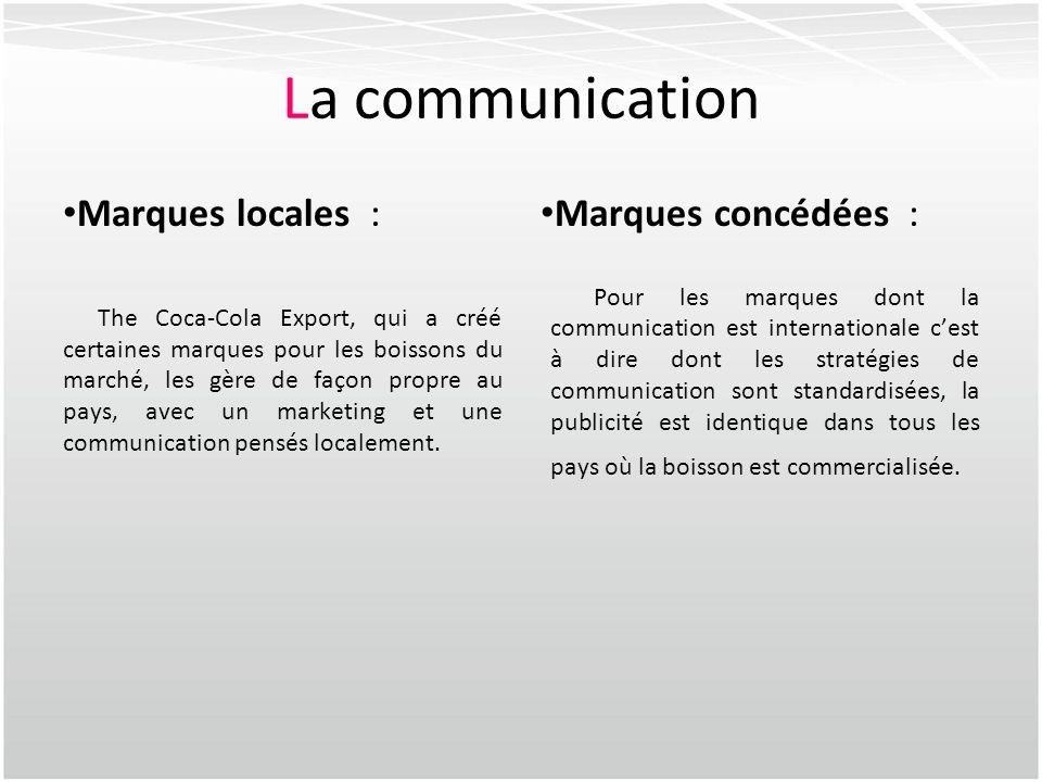La communication Marques locales : Marques concédées :