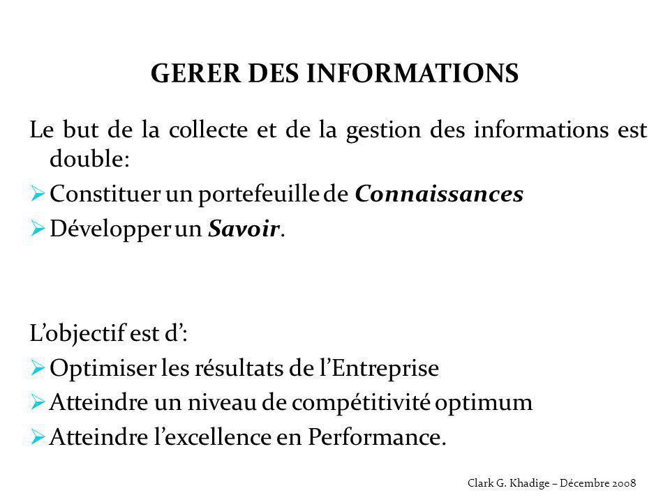 GERER DES INFORMATIONS