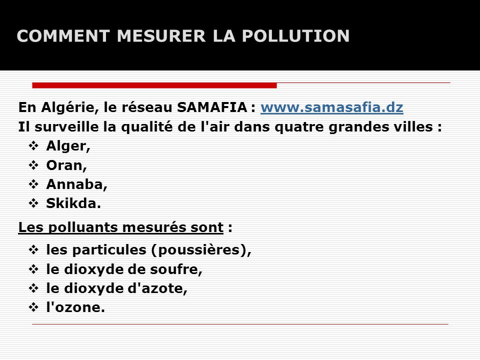 Facult de m decine d oran d partement de m decine ppt t l charger - Comment mesurer la qualite de l air ...