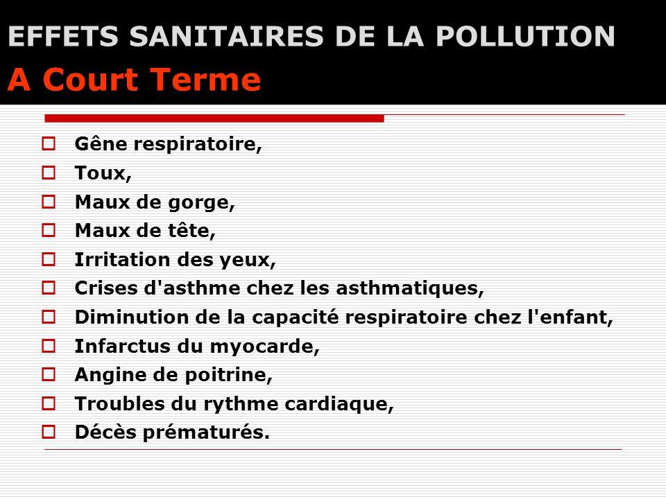 EFFETS SANITAIRES DE LA POLLUTION A Court Terme