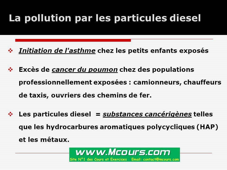 La pollution par les particules diesel