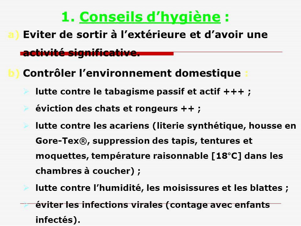 1. Conseils d'hygiène : Eviter de sortir à l'extérieure et d'avoir une activité significative. Contrôler l'environnement domestique :