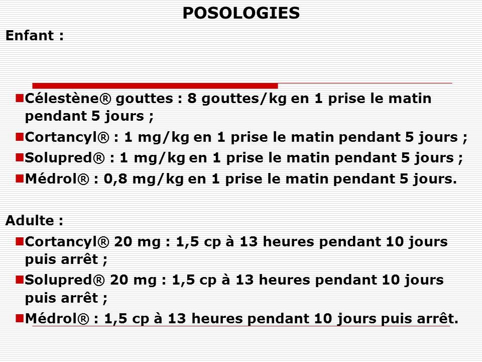 POSOLOGIES Enfant : Célestène® gouttes : 8 gouttes/kg en 1 prise le matin pendant 5 jours ;